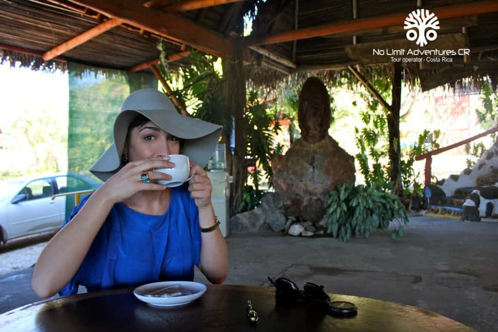 lady drinking recently brewed coffee